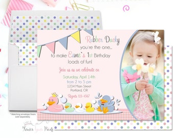 Rubber Duck Party Invitation, Girls 1st Birthday Invitation, Rubber Duck Birthday Invitation, Rubber Ducky Invitation, Duck Party Invite,