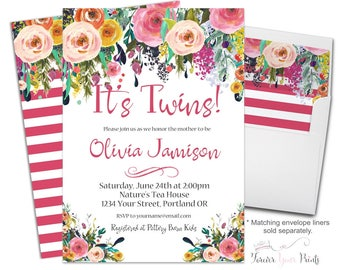 Twin Baby Shower Invitation - Twin Baby Shower Invite - Baby Twins Invitation - Twin Baby Girls Invite - Floral Invitation - Flowers