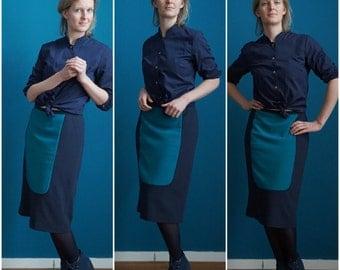 formal skirt // apron skirt // colorblock skirt // straight skirt // petrol // navy blue
