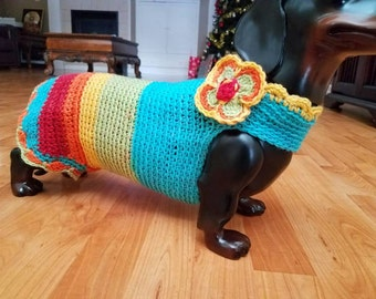 Doxie multi color sweater. Hand made.