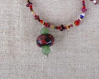 Borosilicate Glass and Mixed Gemstones Pendant Necklace