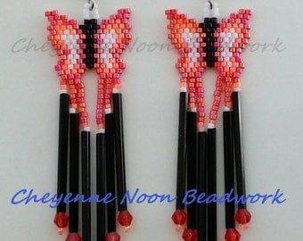 Native American Beaded Earrings - Rainbow Butterflies - Sunset Red