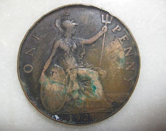 1921 United Kingdom Bronze Coin, 1 Penny - George V