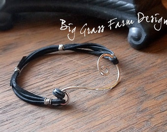 Bracelet, Sterling Silver Hand Forged Swirl and Suede Cord, Lampwork Bead Accent, Rustic Chic Style, Gift for Her, Valentines Day Gift