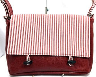 Burgundy faux leather messenger bag - red messenger bag - women's messenger bag - Large messenger bag - Striped Messenger Bag
