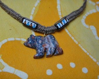Carved Jasper Bear Peruvian Tribal Triangle Pattern Bead Hemp Necklace Mens Ethnic Jewelry Gift