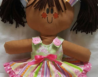 "LillieGiggles Brown Baby Rag doll named Spring stand 12"" handmade cloth doll"