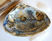 Ring Dish Striped Bass Fish, JUMBO, Fathers Day Gift From Son, Mens Wedding Ring Holder, Fishing Dad Gift , Original Ink Drawing Clam Shell