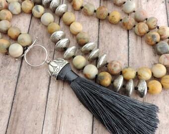 Yellow and Gray Tassel Necklace - Boho Beaded Necklace - Statement Necklace - Yellow Agate - Tassel Jewelry - Gray Silk Tassel