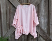 RESERVED FOR M E linen top ruched with bow in light pink ready to ship
