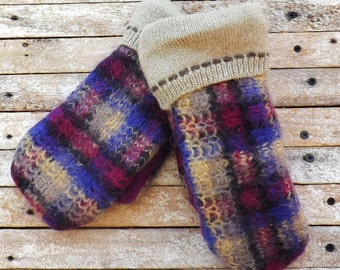 Felted Wool Sweater Small Womans Plum Tan Black Hand Made Recycled Wool Fleece Lined Plaid Pattern Warm Outerwear Christmas Gift