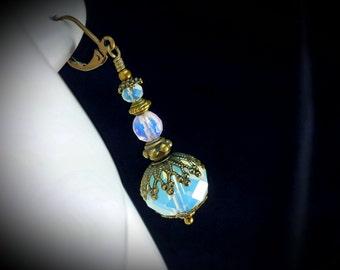 White Sea Opal Jeannie Bottle Victorian Earrings, Pink Opalite Genie Bottle Edwardian Drops, Antiqued Bronze, Titanic Temptations Jewelry