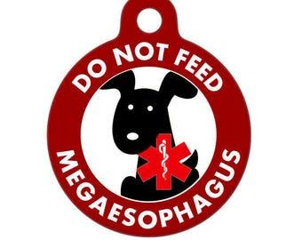 Personalized / Do Not Feed, Megaesophagus / Medical ID Tag / Medical Alert Tag / Medical Pet ID Tag / Pet Tag / Dog Tag / Black Dog Pet Tag