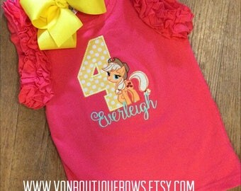 Pony red Apple Jacks bow Personalized Boutique Number Birthday First 1st 2T 3 4 5 6 8 Girls Applique tank Shirt top ruffles