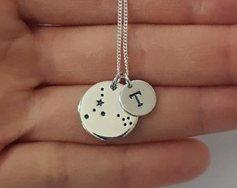 Sterling Silver Pisces Necklace, Personalized Jewelry, Initial Zodiac Necklace, Constellation Necklace, Mother's Gift, Birthday Gift