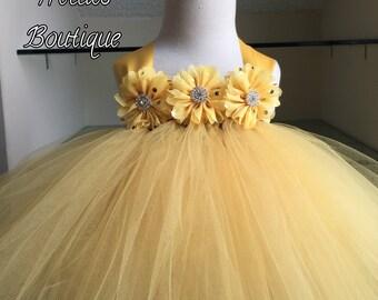 Yellow Tutu Dress- Gold Polka Dot Flowers- Lace Tutu Dress- Chiffon Ballerina Rhinestone Flower- Flower Girl Dress