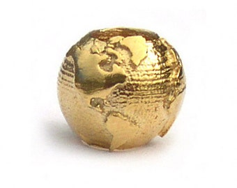 World Globe Earth Charm Bead Gold or Silver Plated
