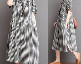 Casual Loose Fitting Linen  Cotton Long Dress Blouse- Women Maxi dress