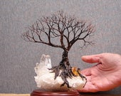 Wire tree sculpture 8 inch, Soul Mate Spirits, Quartz Crystal Cluster, Citrine, cabinet size, Wedding, Anniversary gift, unique handmade art