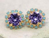 Purple Stud Earrings,Violet Purple Swarovski Earrings,Bridesmaids Purple Earrings,Bridal Purple Earrings,Gift for woman Crystal Earrings