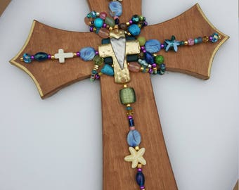 Cross - wooden, Unique, Decorative with gift box, for Gift or Home Decor,  Beads, Wall Cross