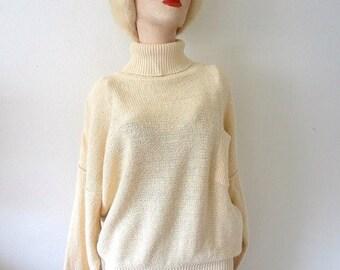 ON SALE 1980s Oversized Sweater - cotton blend knit turtleneck - retro vintage