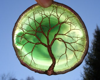 Copper Wire Tree Of Life Metal Art Sculpture On A Green Agate Stone Crystal Suncatcher