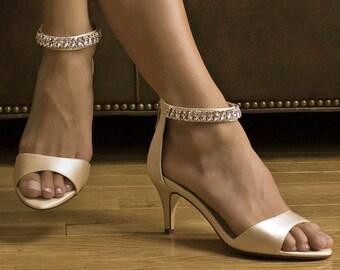 Wedding Shoe - Crystal Strap Shoe - Bridal Shoes - 2.25 inch Heels - 250 Shoe Colors - Pink2Blue Wedding Shoes