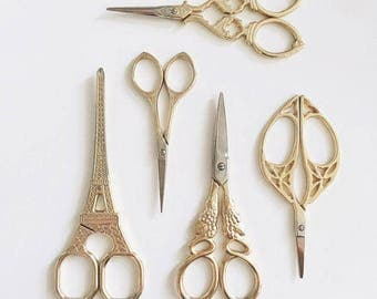 Gold Antique Scissors Sewing Supplies DIY Manual Yarn Cut Thread Scissors Embroidery Scissors