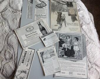 Vintage Ephemera Pack 100 Year Old Magazine Ads Pack of 28