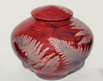 Red Raku Urn,6 in. Decorative Ceramic Jar for Cremation Ashes Home  and Living Kitchen and Dining Bath Decor Memorial Urn Office Art Niehaus