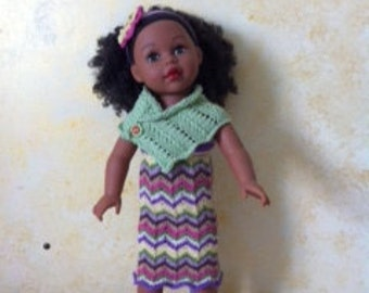Colorful Hand Knit Cotton Chevron Midi Dress with Shawl Shoes and Headband for 18 inch Dolls Free Shipping