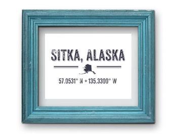Sitka Alaska Geographic Coordinates Print {Digital}