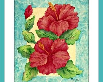 Watercolor Hibiscus, Tropical Floral, Orange Pink, Colorful Hibiscus, Tropical Decor, Hibiscus Decor,Blue Border, Martha Kisling