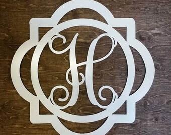 Double Framed Metal Monogram Framed Initial Letter ~ Bare Metal