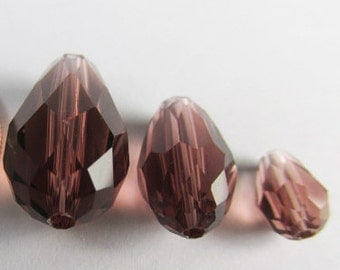 Amethyst Plum Crystal Teardrop Jewelry Beads Amethyst Plum Burgundy in 14mm, 12mm and 7mm drilled end to end