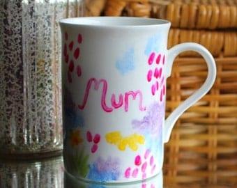 Mum mug hand painted Meadow flowers mug
