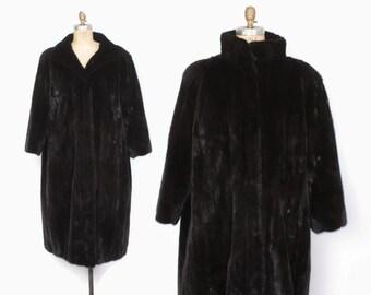 Vintage 80s MINK Coat / 1980s Blackglama Dark Ranch Mink Full Length Plus Size XL Plush Fur Coat