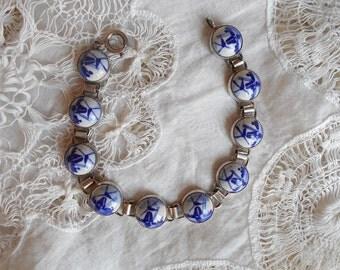 SALE Vintage sterling silver porcelain bracelet hand painted blue white Delft Holland windmills dainty bracelet