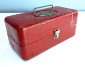 Vintage Fishing Tackle Box, Red Metal, Industrial Mantique, Vintage Fishing Gear, Outdoorsman Gift, Hunting Cabin Decor, Victory ATCO Lititz
