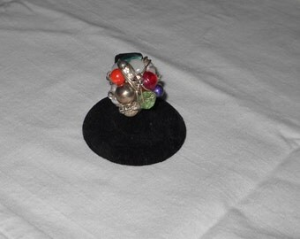 Handmade Ring - Silvertone Wire and Various Beads