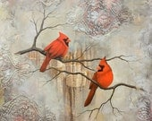 Cardinal Print Mounted to wood panel, Cardinal Painting, titled A Pair of Cardinals, Limited Edition Print, Mixed media bird painting, mixed