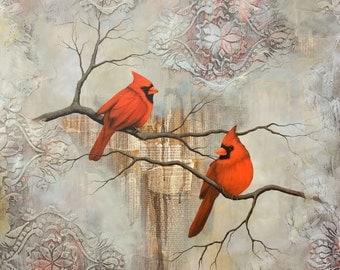 Cardinal Print, Cardinal Painting, titled Two Cardinals, Limited Edition Print, Mixed media bird painting, mixed media cardinal painting