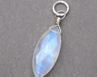 Rainbow Moonstone Marquis Pendant, Moonstone Briolette, Sterling Silver Wire Pendant, Rainbow Moonstone Charm, Stone 304