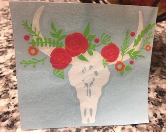 Cow Skull Decal | Yeti Decal | Boho Decal | Western Decal | Antler Decal | Cowgirl Decal | Country Decal | Texas Decal