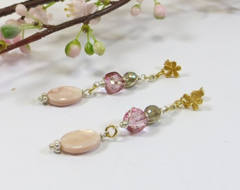 Mother of Pearl and Pink Gemstone Earrings w Gold 925 Vermeil Flower Posts, Pink Mother of Pearl and Gemstone Silver and Gold Mix Earrings