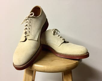 Vintage Suede Oxfords - Summer Wedding Shoes - Men's 11 - Euro 44.5 - UK 10 - Authentic 80s Preppy Shoes - 1980s Bostonian  - Made in USA