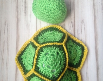 Ready to ship Turtle Hat And Shell Size 0 to 3 months, photo prop, newborn hat, baby shower gift