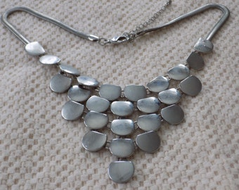 Vintage bib necklace, silver semi-circle and snake chain necklace,funky hipster jewelry