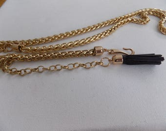 Vintage necklace or chain belt, 33 inch necklace, chunky chain, golden chain, weaved chain, unique accessory, jewelry